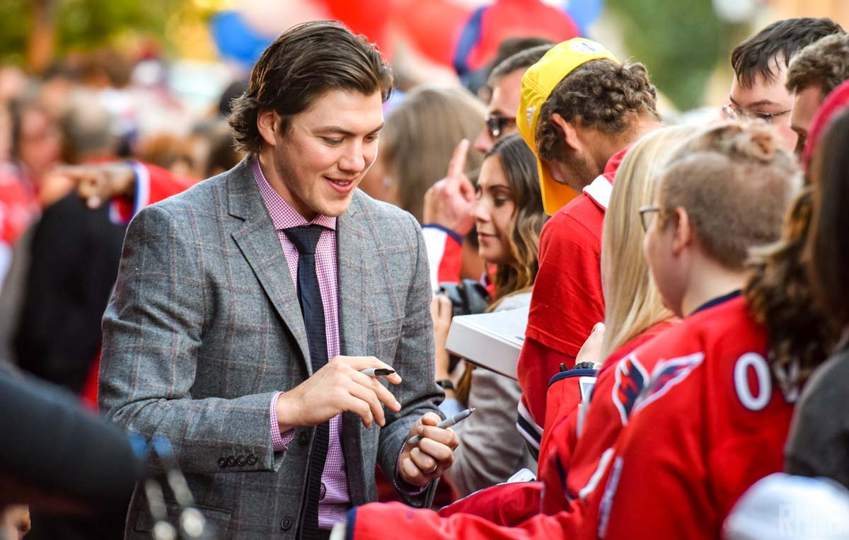 TJ Oshie greets fans and signs autographs