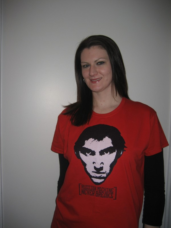 Courtney modeling our Russian Machine Portrait T-Shirt