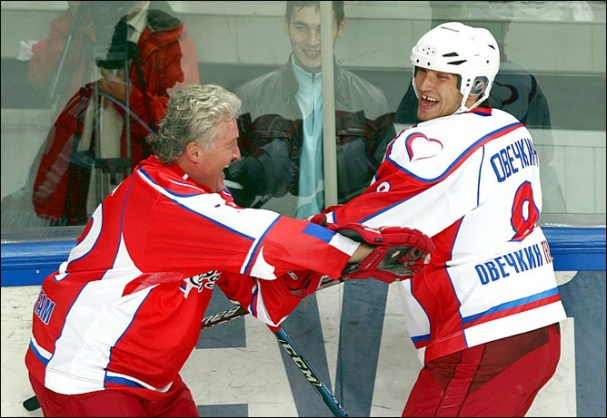 Alex Ovechkin gets in a playful tussle with someone on Team Kovalchuk.