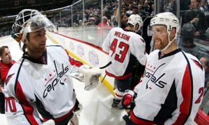 Braden Holtby and Alzner celebrate a shootout victory. (Photo credit: Jonathan Kozub)