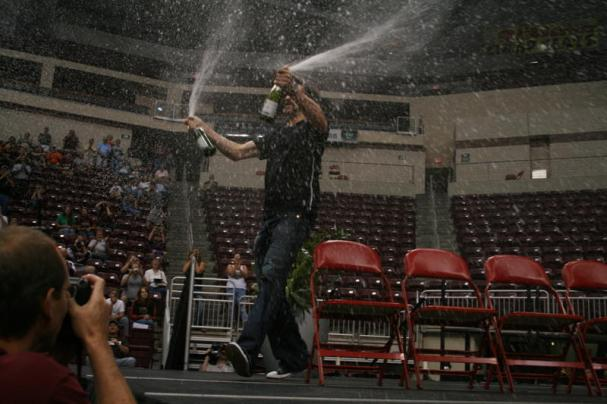 Alexandre Giroux sprays the crowd with champagne