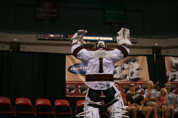 Andrew Joudrey in Braden Holtby's Gear