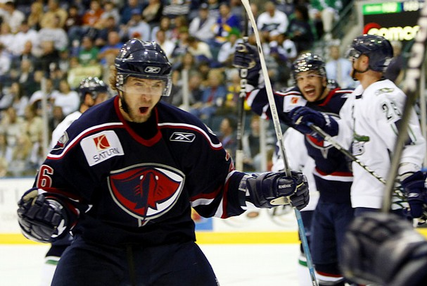 Nikita Kashirsky celebrating a goal for the Stingrays.