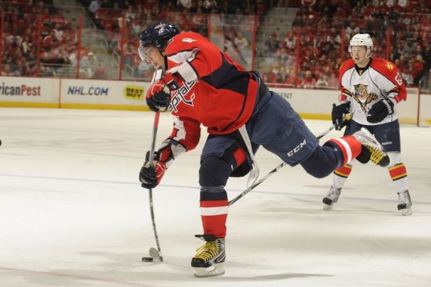 Alex Ovechkin takes a shot against the Panthers