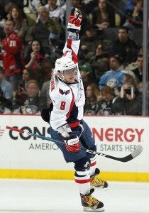 Alex Ovechkin celebrates his second period goal, his fifth powerplay goal of the year. (Photo credit: Christian Petersen)