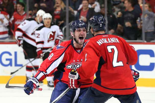 Alex Ovechkin celebrates