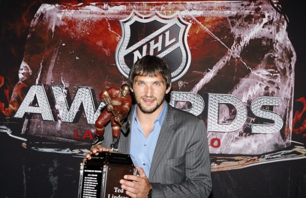 Alex Ovechkin poses with the Ted Lindsay Award, the only hardware he took home this year.