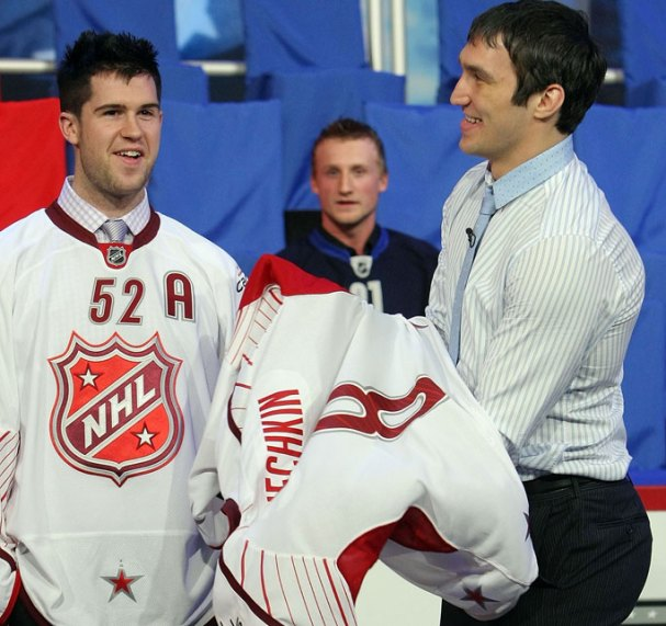 Alex Ovechkin puts on his All-Star jersey