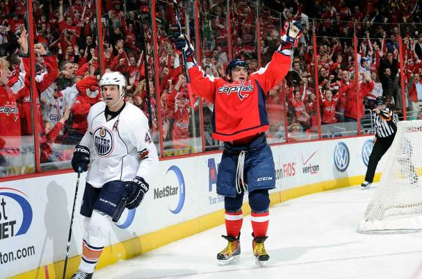 Alex Ovechkin scores against the Oilers