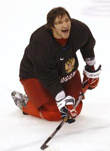 Alex Ovechkin happy to be reunited with his countrymen. (Shaun Best/Reuters)