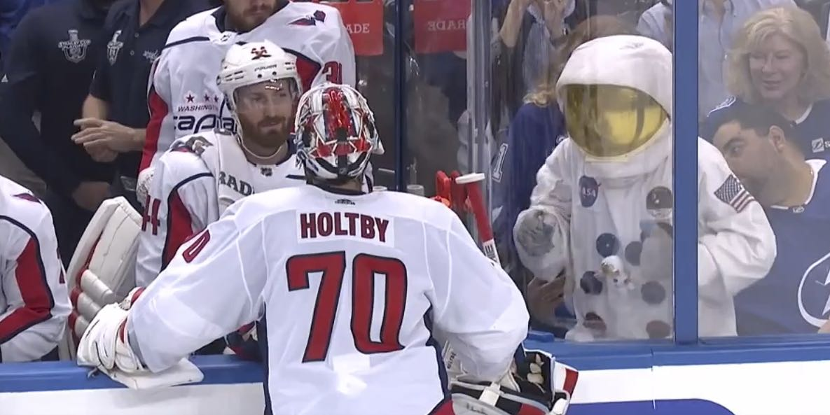 Braden Holtby was utterly unfazed by this astronaut taunting him c09f2d2cbb36