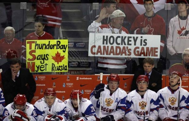 Canadian signs taunting the Russian Bench