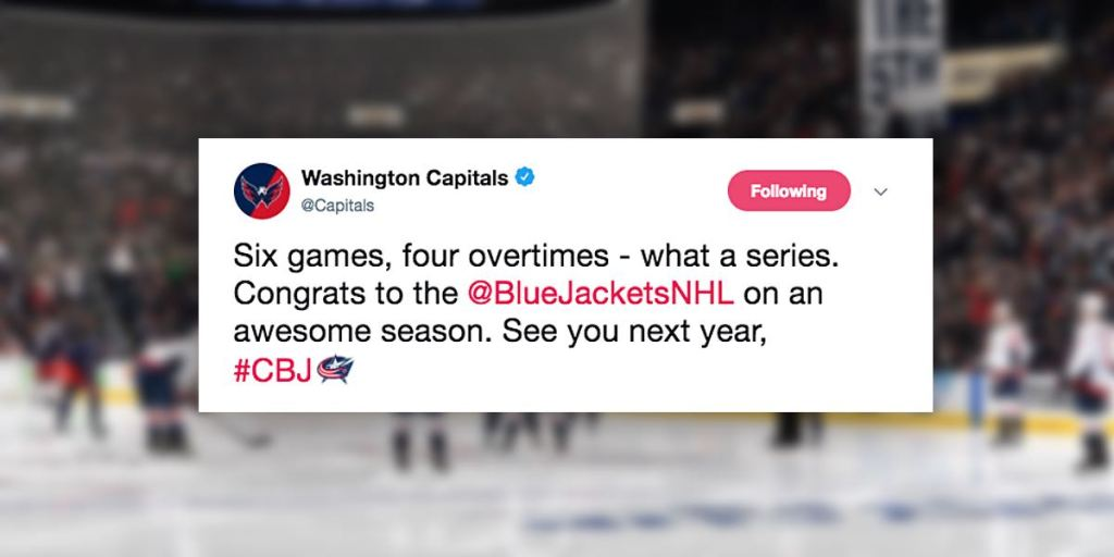 cf18c47d92eeb Capitals and Blue Jackets Twitter accounts show good sportsmanship after  series