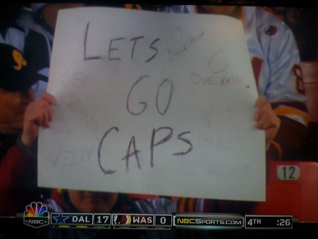 Washington Capitals Sign on NBC Sunday Night Football Game Between Redskins & Cowboys