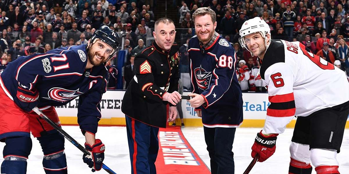 86e01abad3c Dale Earnhardt Jr. participates in ceremonial puck drop at Columbus Blue  Jackets game