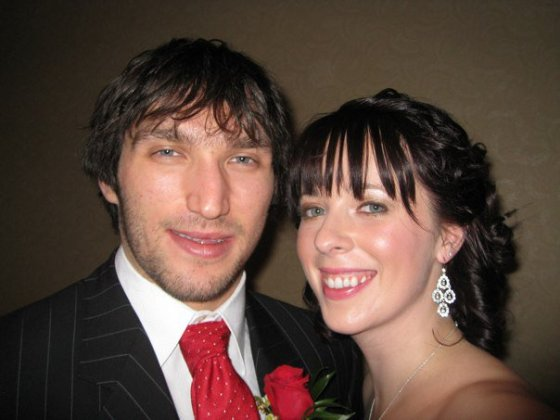 Emily posing with Alex Ovechkin