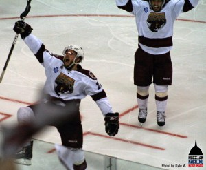 Francois Bouchard and Mathieu Perreault do the Bears only celebrating of the night after Bouchard's second period tally.  (Photo by Kyle M.)