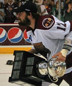 Alexandre Giroux holds the Calder Cup. (Photos by Kyle M.)