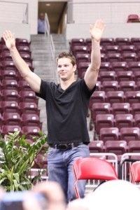 Gordo waves to the crowd at the Calder Cup Championship Rally at Giant Center. (Photo by Tim Stough)