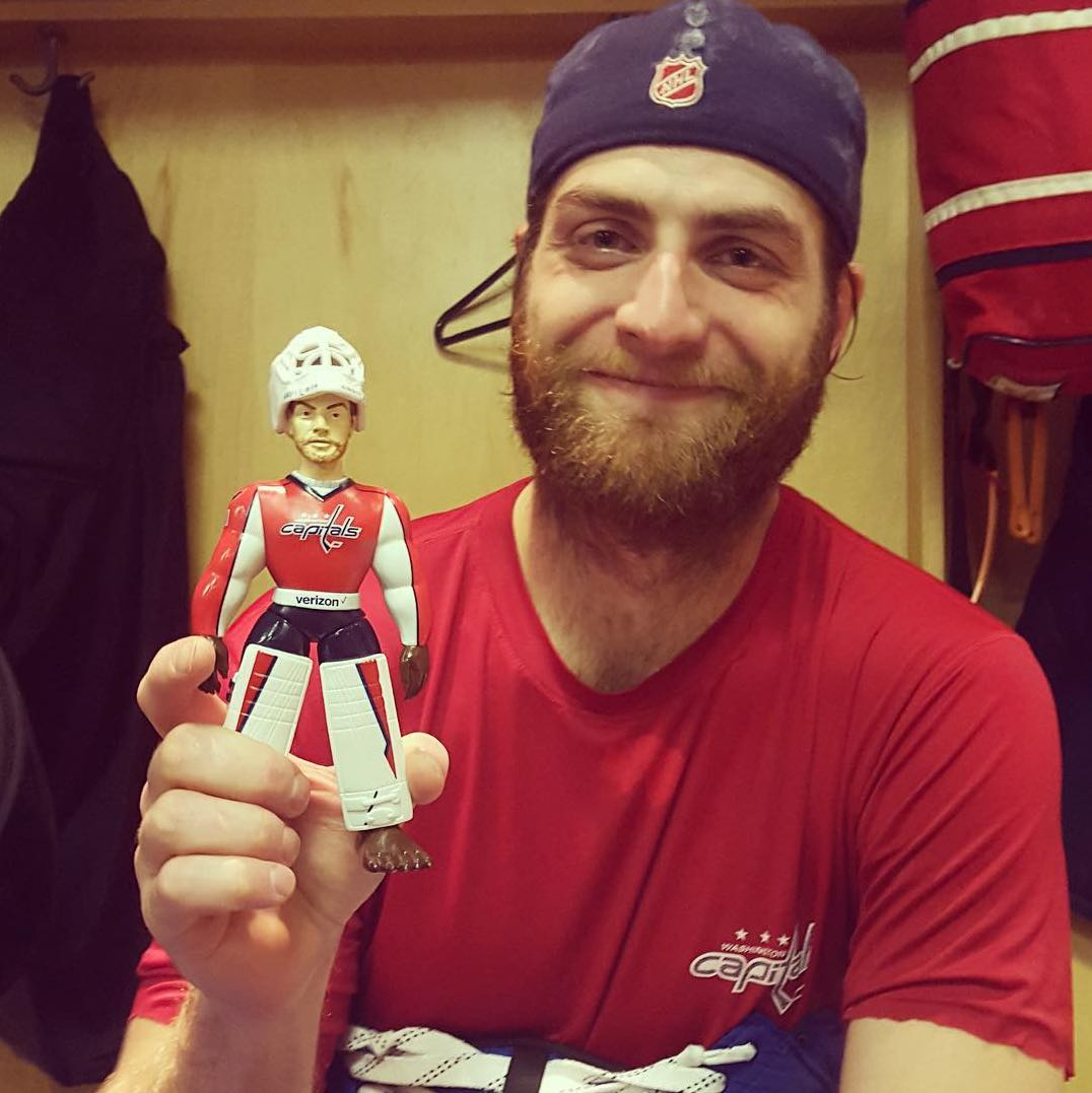 Braden Holtby Alex Ovechkin And Other Caps Players Pose With The Holtbeast Figurine Rmnb