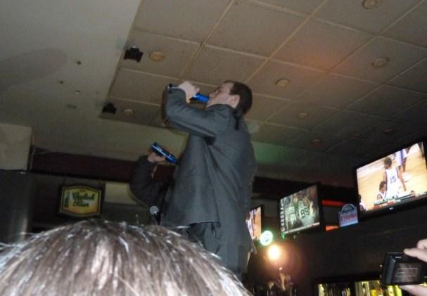 John Carlson takes a drink at his birthday party at RFD