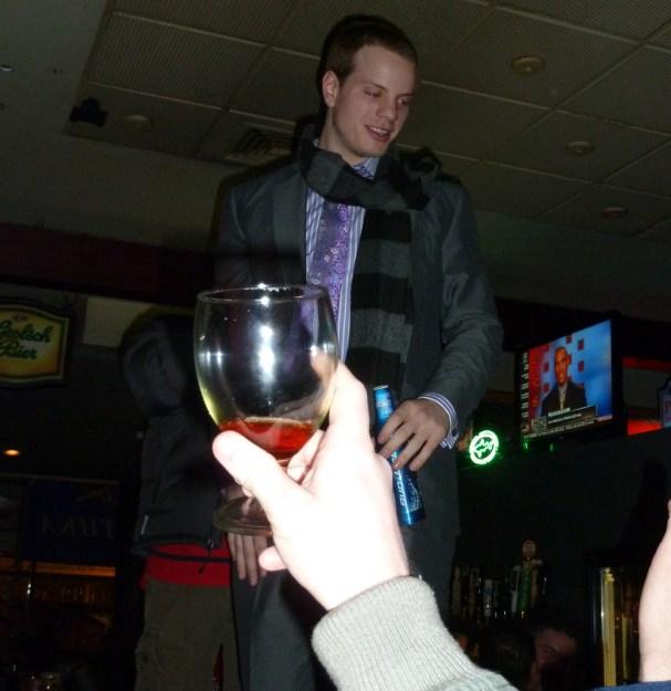 John Carlson on top of the bar at RFD