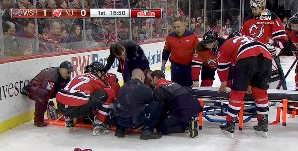 promo code c862e b82f5 John Moore carried off in stretcher by Devils teammates ...
