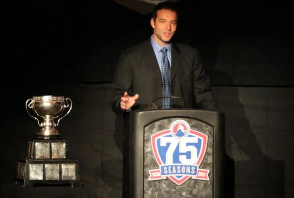 Olaf Kolzig speaking at the 2011 AHL Hall of Fame Induction Ceremony