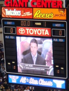 Olaf Kolzig is announced to the Hershey crowd as the Eastern Conference's Honorary Captain. (Photo by Laura G.)