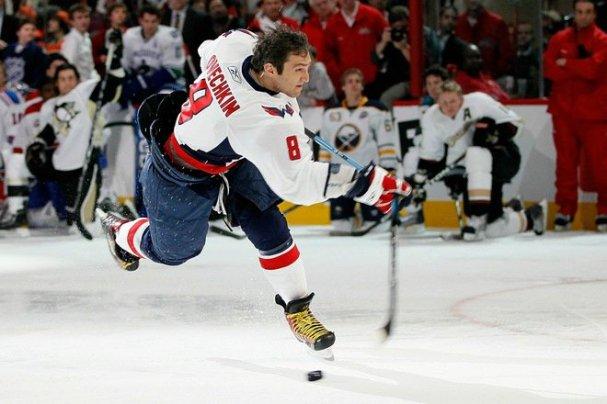 Alex Ovechkin breaks his stick.