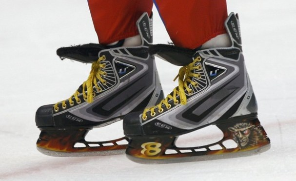 The skates of Russia's Ovechkin are pictured during the men's preliminary ice hockey game against Latvia at the Vancouver 2010 Winter Olympics