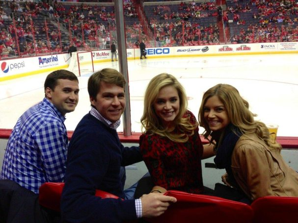 Ryan Zimmerman and his wife at the Caps game