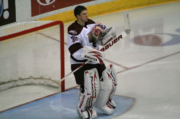 Semyon Varlamov during the National Anthem