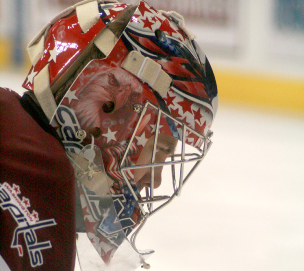 Semyon Varlamov stares at the ice