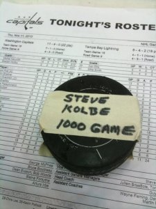 Puck commemorating Steve Kolbe's 1000th game as the radio voice of the Capitals