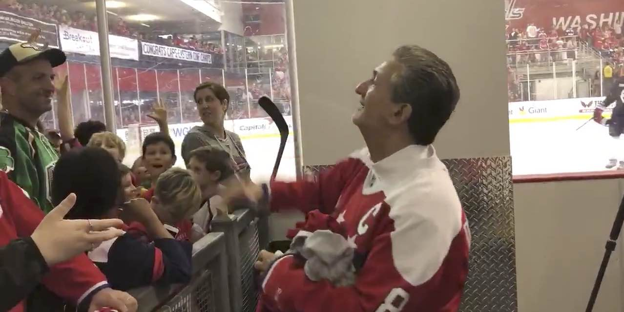 cf1b8f482fd Ted Leonsis became a human t-shirt cannon and threw merchandise to Capitals  fans at Kettler