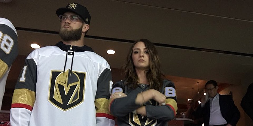 official photos bbc20 1d00c Bryce Harper, wearing a Golden Knights jersey, looked ...