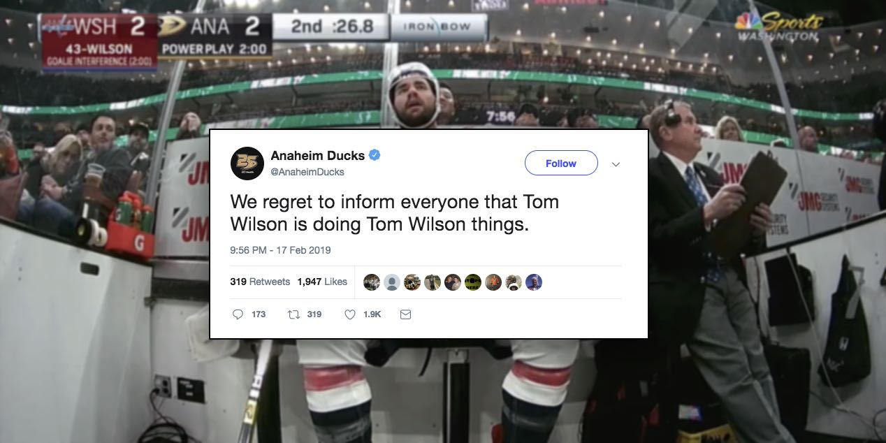 6a1f0bd3a26 Anaheim Ducks Twitter account trolls Tom Wilson during game