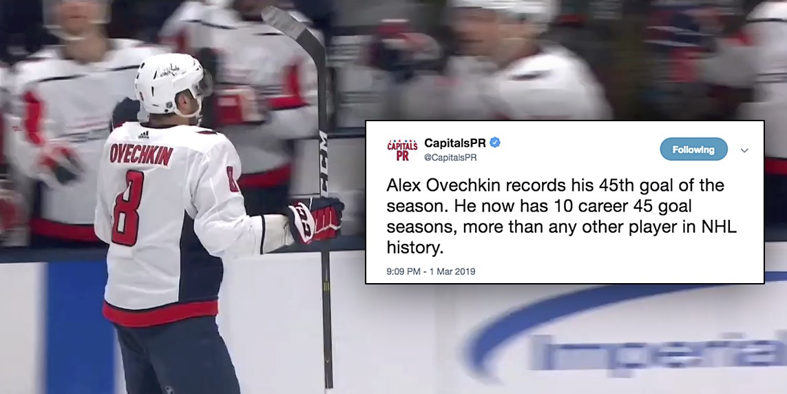 Alex Ovechkin sets record for most 45-goal seasons in NHL history