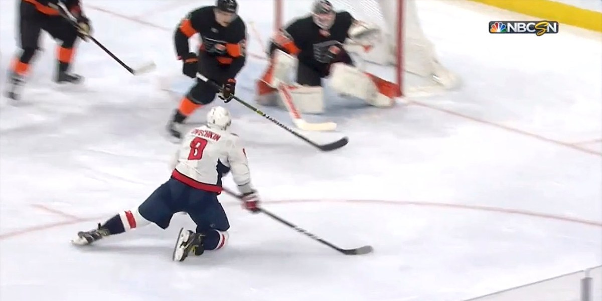 c0562f2d605 Alex Ovechkin assists on Tom Wilson goal from his knees