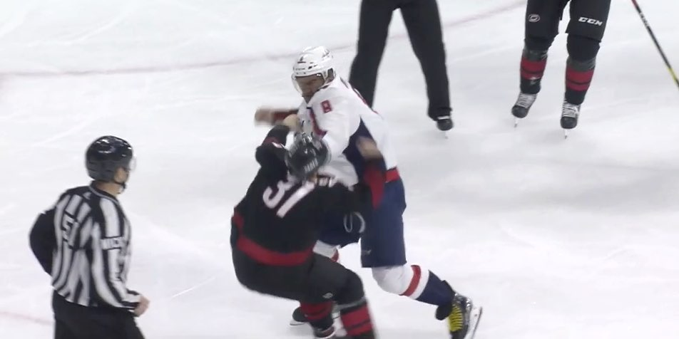 Alexander Ovechkin Lays Out Andrei Svechnikov in Fight