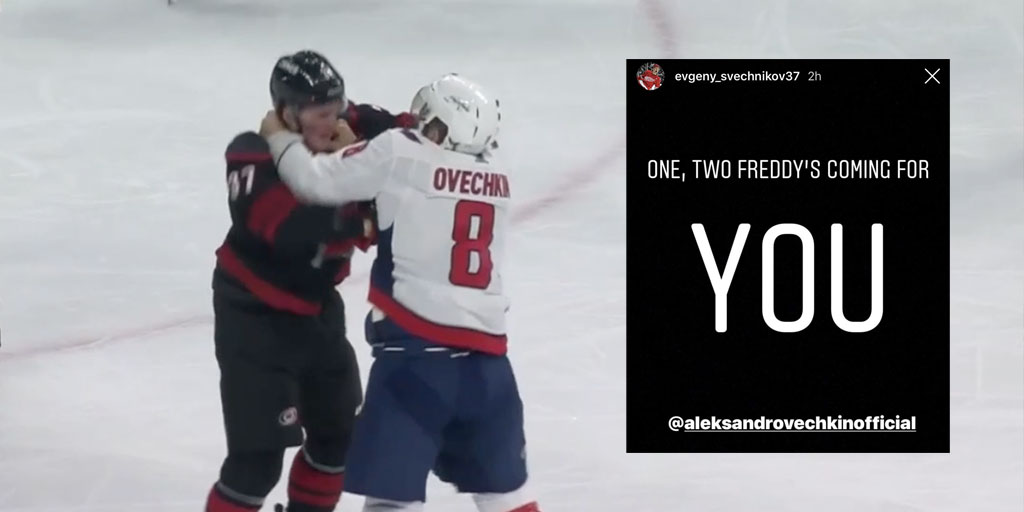 the best attitude c8de1 609b8 Andrei Svechnikov's brother threatens Alex Ovechkin on ...