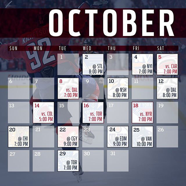 photo regarding Mn Wild Schedule Printable named Heres the Washington Capitals 2019-20 every month year program