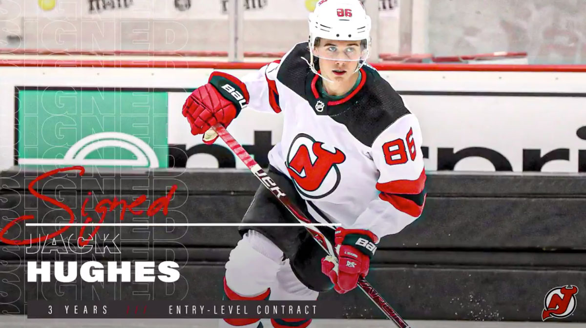 new products 74cec 6623b New Jersey Devils sign first overall pick Jack Hughes to ...