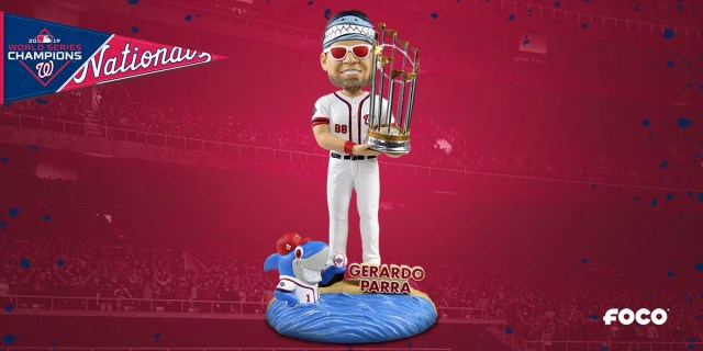 This incredible Gerardo Parra bobblehead includes Baby Shark, red-tinted shades, and the World Series trophy