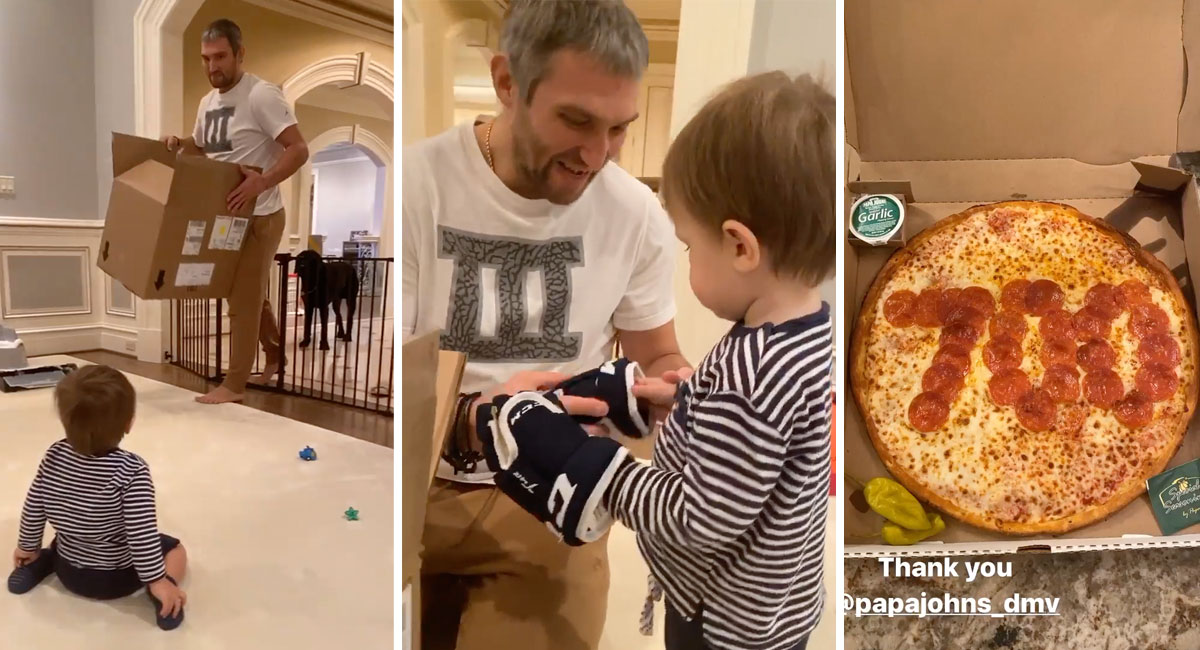 Alex Ovechkin celebrated his 700th goal at home by giving Sergei his first hockey gloves, eating pepperoni pizza