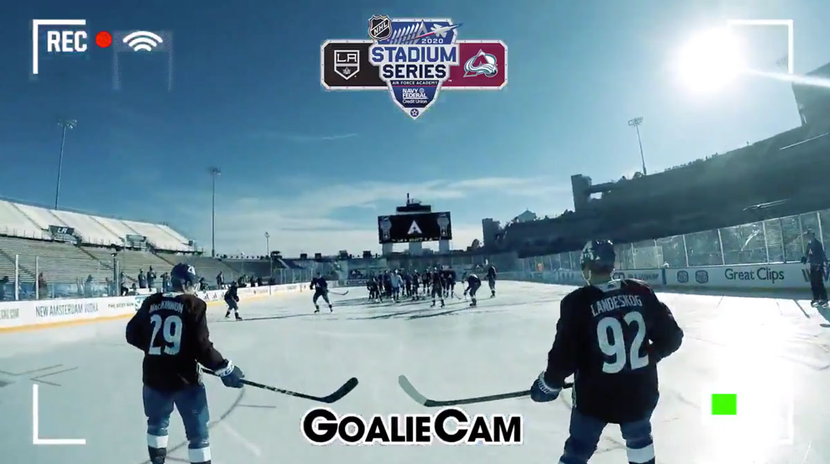 Philipp Grubauer wore a GoPro during the Colorado Avalanche's practice outdoors at the US Air Force Academy
