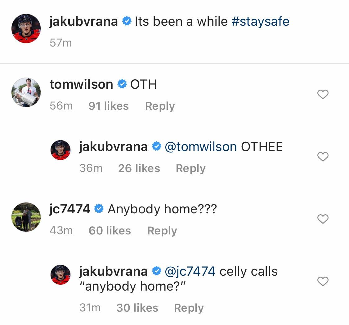 Jakub Vrana Tells Followers To Stay Safe On Instagram