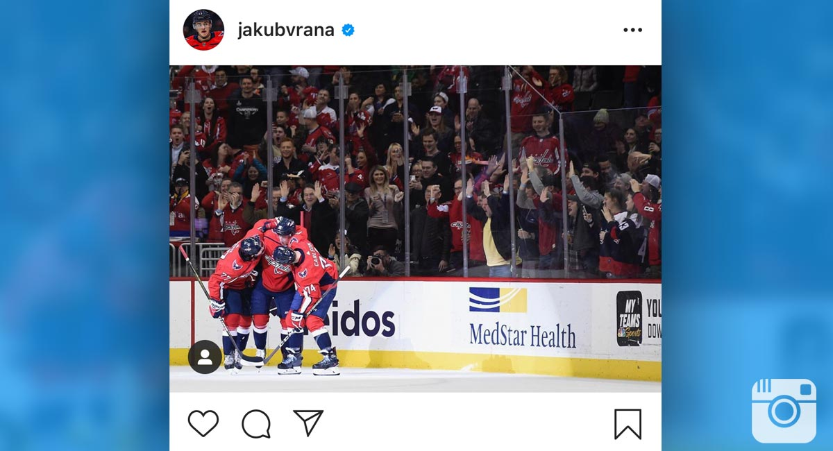 Jakub Vrana tells followers to 'stay safe' on Instagram