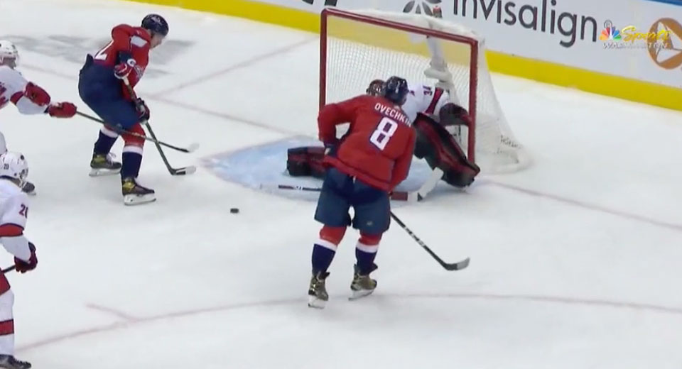 Evgeny Kuznetsov scored in his first game using the Bauer Nexus ADV that has a hole in its blade, debuts new skates